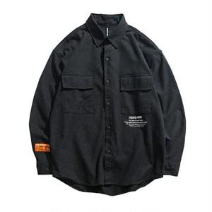 送料無料メンズ大きいシルエットロゴ黒コットン長袖シャツ