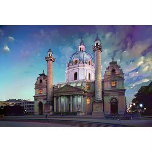 Photo-CG - カールス教会 (Karlskirche) - Original Print A3+ Size