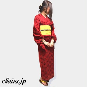 【着物&浴衣】モダンレッド花柄刺繍