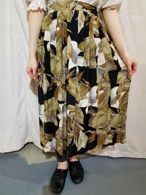 Flower pattern rayon skirt [O-214]