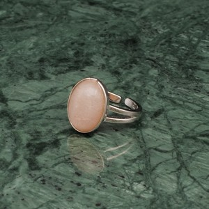OVAL BIG STONE RING SILVER 003