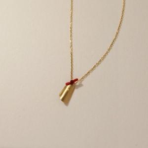18金ゴールドネックレス:ロール(M)Red