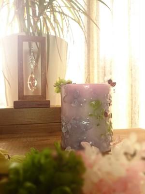 お花のキャンドル パープル   ラベンダーの香り