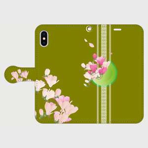 博多献上×ロマンチック木蓮(抹茶色) iPhone専用・手帳型(帯あり)