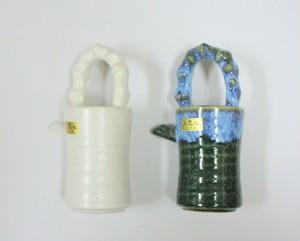 国産 陶器製 花立手付 水 差 (白・緑)