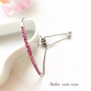 女性らしいピンク色のグラデーションブレスレット
