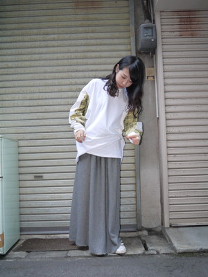 【途中でやめる】ナイスチェック ロンT 白×黄色チェック