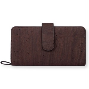 VEGAN CLUTCH WALLET - BROWN + BLUE / 長財布 ブラウン コルク製
