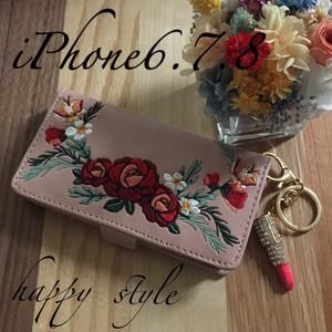 ✴︎花柄刺繍✴︎iPhone6 7 8共通手帳型ケース✨リップホルダー付き