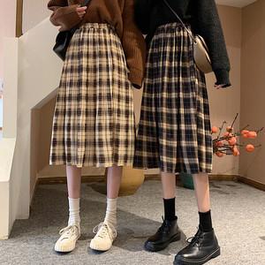 【ボトムス】超目玉学園風チェック柄ストレートスカートスカート