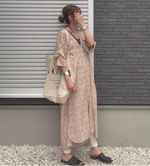 twistsleeveshirtdress (beige flower)