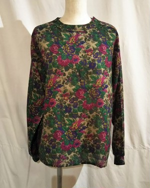 Flower pattern pullover blouse /Made In France [2121]