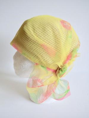 ターバン風ニット帽・レモンカラー<M57〜59cm>