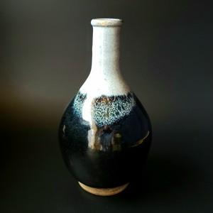 海鼠釉 徳利形 花入 時代物 陶芸 大徳利 花器 花生 骨董 アンティーク