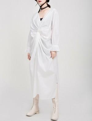 V neck twist design dress