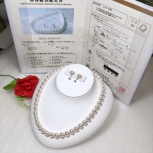 アコヤ真珠ネックレス8.5-9.0mm真研オーロラ花珠k14ピアス ケース付き