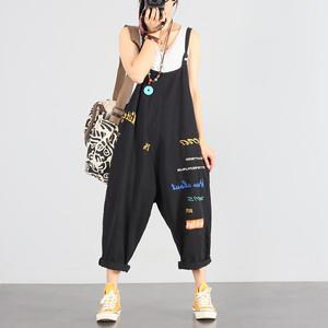9712レディース サロペット デニムオーバーオール パンツ 刺繍 オールインワン カジュアルパンツ  サルエルパンツ ストリート ゆったり