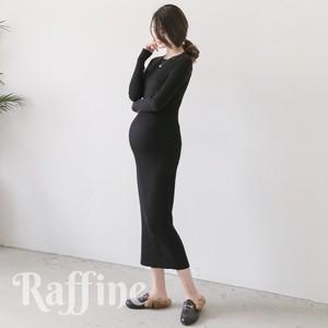 t0026023 マタニティ ワンピースドレス 結婚式 リブニット 4色 ロング マキシ 大きいサイズ 韓国 赤 ブラウン 黒
