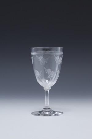 ⑲バカラ エッチドローズ文 白ワイングラス Etched rose pattern White Wine Glass