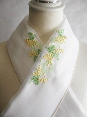 刺繍半衿・ミモザ・オーガンジー