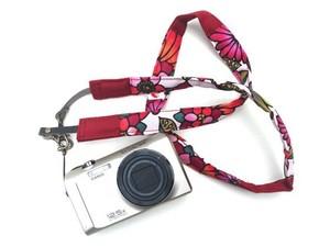 カメラストラップ 2㎝巾 コンパクトカメラ&携帯用 両面 花柄デザイン 石垣島の花たち 赤