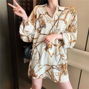 【トップス】韓国系ファッション長袖ロング折り襟シングルブレストシャツ