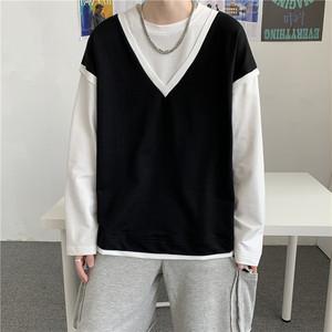 【メンズファッション】韓国系ラウンドネック切り替え配色プルオーバーパーカー38847988