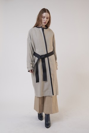 LINEN NO COLLAR COAT