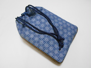 デニム紺地製 信玄袋 合切袋 巾着袋 竹節 麻の葉 銀 家紋