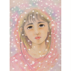 手描きイラスト「少女像」(水彩画)制作