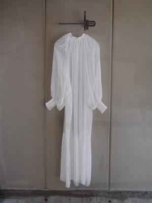 HYKE / SHEER SHIRRED DRESS (WHITE)
