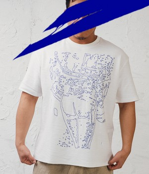 KA WA KEY - MARKER SCRIBBLE TERRY T-SHIRT(サイズ特注)- PPBL 03.01 BLUE MARKER