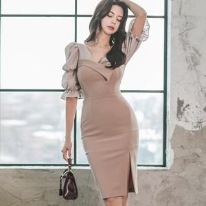【ワンピース】中袖Ⅴネック切り替えスリム  ファッション レディースセクシーワンピース25708336