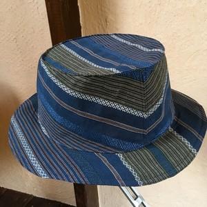 帯のカンカン帽『紺青<博多帯模様>』