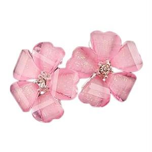 ピンクのお花  桜のクリスタルフラワー ピアス 【即納】