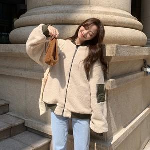 【アウター】ファッションラムウール切り替え配色リバーシブルコート