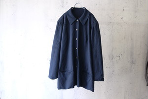 dark blue woven pattern half coat