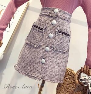 ♡ボタンツイードスカート