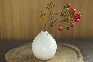 白い陶器の一輪挿し(丸/無)