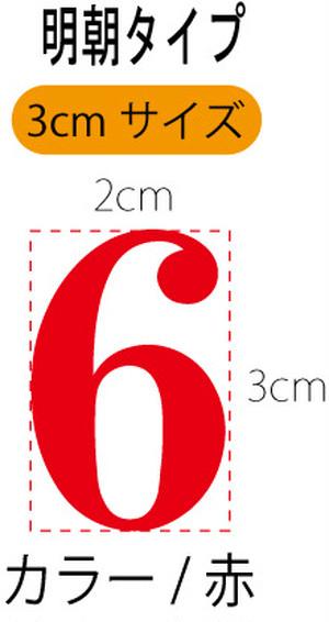 数字ステッカー・赤色・明朝・3cmタイプ