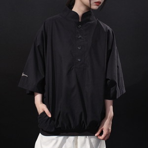 wide silhouette stand-collar & 2 pocket design smooth fabric pullover