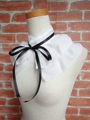 フリル付け襟 魔法使いのシンプルカラー ショート丈白