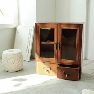 wood mini shelf E / アンティーク調 レトロ ウッド ミニ シェルフ 引き出し 扉付き 収納 陳列 棚 韓国 北欧 雑貨