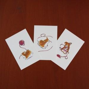 毛糸玉とコーギー(3枚セット)