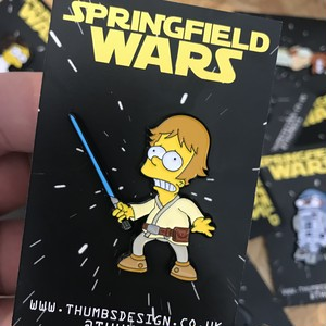 "THUMBS""Bart x Springfield Wars Pin Badge"""