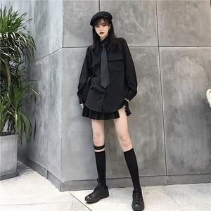 モード系 ゴスロリ 黒 シャツ ネクタイ 病み可愛い ゴシック 大人可愛い 韓国 オルチャン