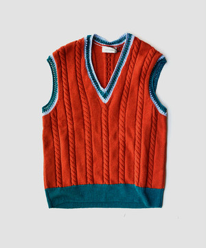 WALES BONNER	PARISH CABLE KNIT VEST	RUST