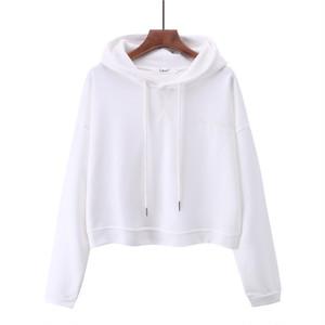 1009レディーストップス ヒップホップダンスウェア ダンス衣装 長袖 ショート丈 パーカー 無地 ゆったり 白 ホワイト