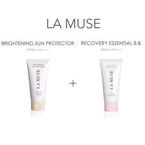 【しっとり潤い水光肌セット】LA MUSE リカバリーエッセンシャルBB + ブライトニングサンプロテクター(日焼け止め化粧下地)
