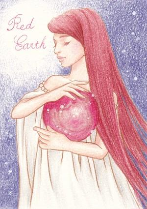 赤い地球女の子のハガキ